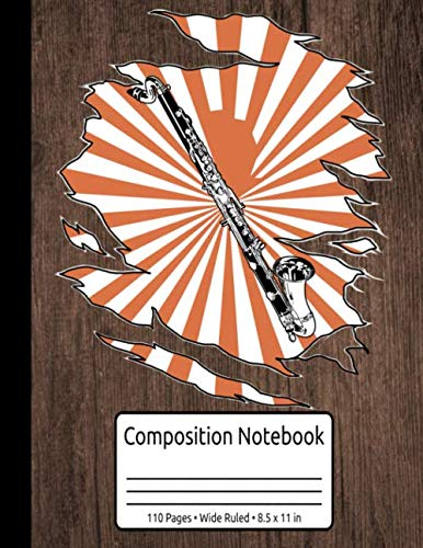 Retro Bass Clarinet Gifts Jazz Music Vintage Bass Clarinet Composition Notebook 110 Pages Wide Ruled 8.5 x 11 in: Bass Clarinet Music Books