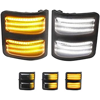 RUXIFEY Sequential Side Mirror Marker Lights Clear LED Turn Signal Light Compatible with Chevy Silverado GMC Sierra 1500 2500HD 3500HD Amber