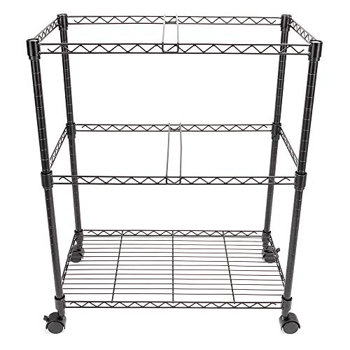 GHP 23.6''x12.6''x27.6'' 2-Tier Black Carbon Steel Office Mobile Rolling File Cart by Globe House Products