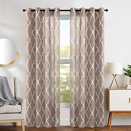 (jinchan Linen Curtains Flax Linen Blend Textured Curtain Moroccan Tile Print Window Curtain Drapes Set for Living Room Lattice Quatrefoil 50
