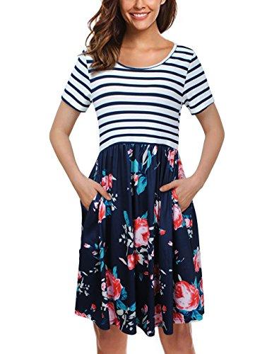 - UXELY Flower Dress,Summer Spring Women Dresses for Party Wedding,Blue S