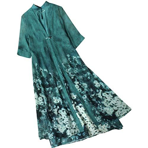 Summit Hoodie Vest - Ximandi Women's Vintage Boho Chiffon Floral Print 2-Pieces in 1 Short Sleeve Long Dress
