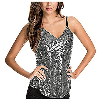 WUAI-Women Club Tank Tops Sparkly Sequin V Neck Spaghetti Strap Party Camisole Vest at  Women's Clothing store