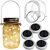 Homeleo 5-Pack Warm White Solar Mason Jar Lid Insert w/Stainless Steel Hangers, Solar Powered LED Mason Jars Light Up Lid Set(Jars NOT Included)