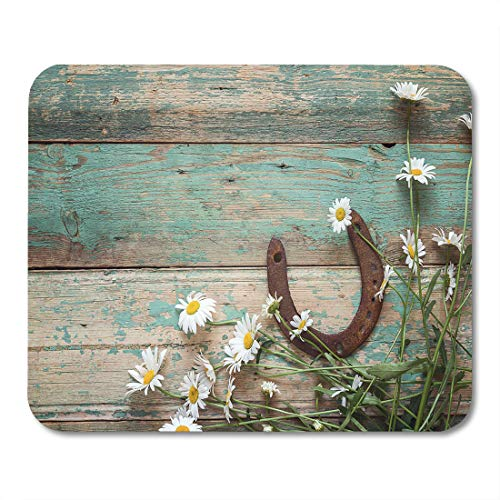 - Emvency Mouse Pads Yellow Barn Rustic Rusty Horseshoe and Daisies on Old Wooden Boards Copy Space Top View Wood Mousepad 9.5
