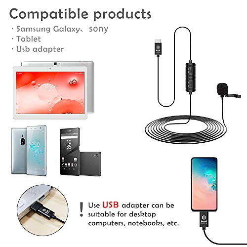 Type-C Lavalier Microphone for Android Phone Professional Omnidirectional Mic for Cameras and Laptop Perfect Camera Microphone for Recording YouTube,Video,Vlogging(19.6ft)