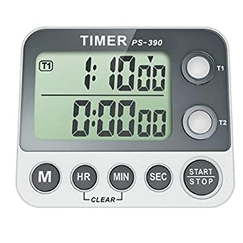 Countdown Digital Kitchen Timer, Dual Settings, With LCD Lights
