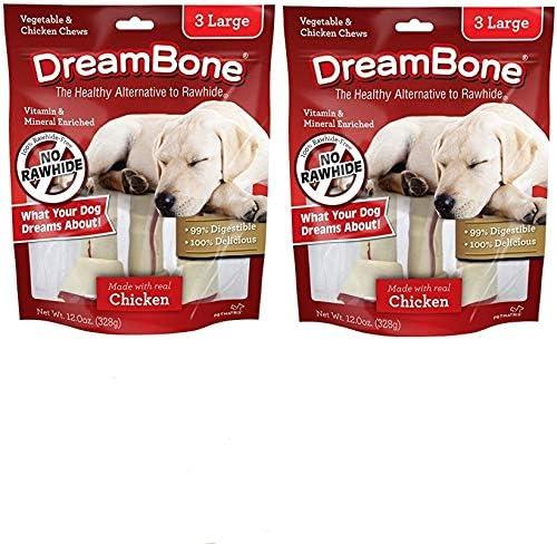 DreamBone SmartBones Vegetable Chicken Dog Chews, Rawhide Free, Large, 6 Count, Pinkleaf Cards Included