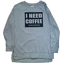 I Need Coffee and a Donut Light Heather Grey Hacci Sleep Top