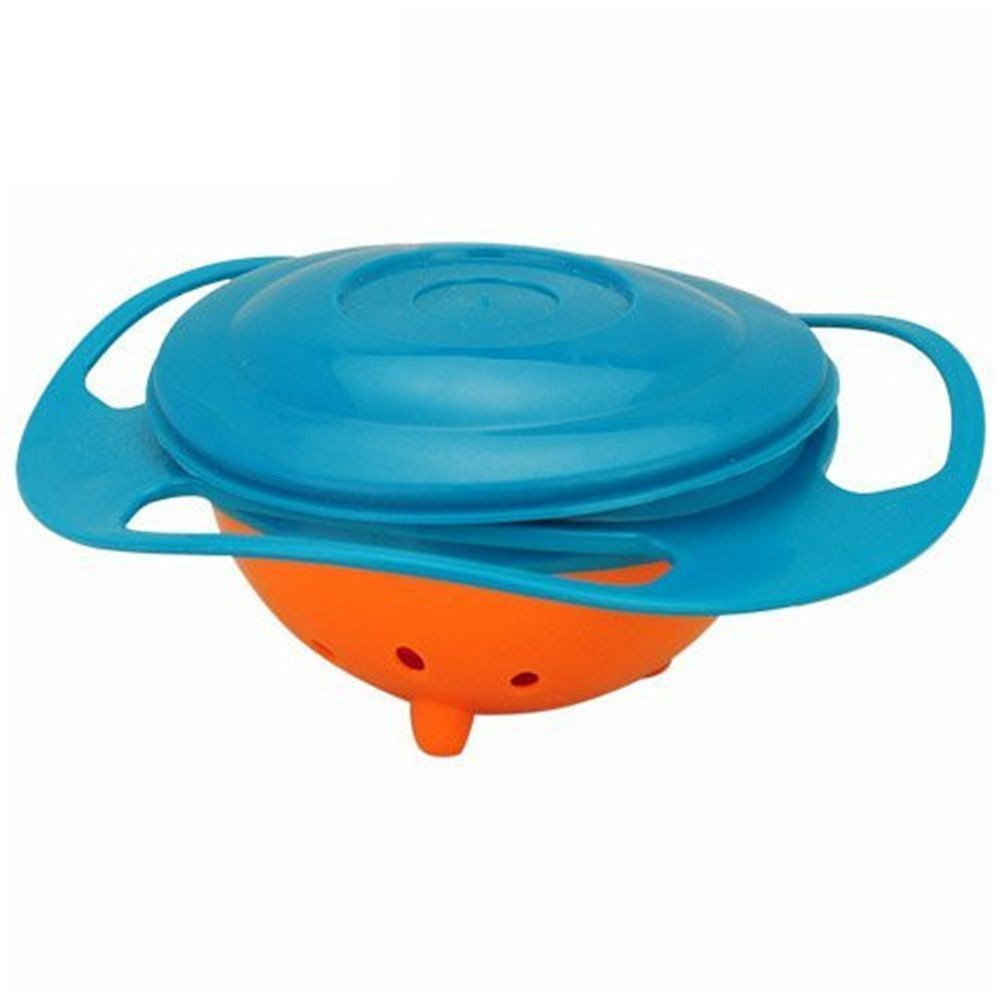 Berry President Magic Bowl 360 Degree Rotation Spill Resistant Gyro Bowl with Lid For Toddler Baby Kids Children, Set Of 3, Orange+Blue+Green by Berry President (Image #5)
