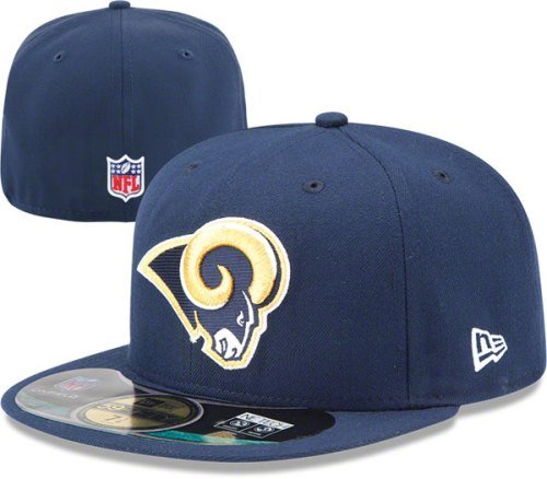 f58ed60a2d0 Amazon.com   NFL Mens St. Louis Rams On Field 5950 Navy Game Cap By New Era    Sports Fan Baseball Caps   Clothing