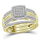 Jewels By Lux 10kt Yellow Gold Womens Round Diamond Cluster Bridal Wedding Engagement Ring Band Set 3/8 Cttw (I2-I3 clarity; I-J color)