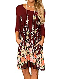 Women's Floral Print Crew Neck T-Shirt Dresses with Pockets