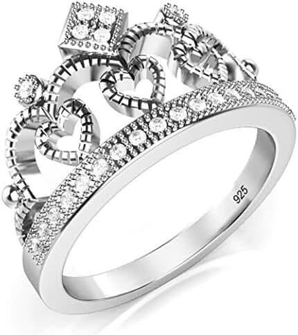 925 Sterling Silver Cubic Zirconia Princess Heart Crown Tiara CZ Band Ring