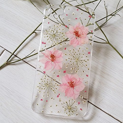 Sixspace Personalized Purple Larkspur and White Lavender Real Dried Pressed Flowers Case for iPhone 6 Plus (Case Patch Flower)