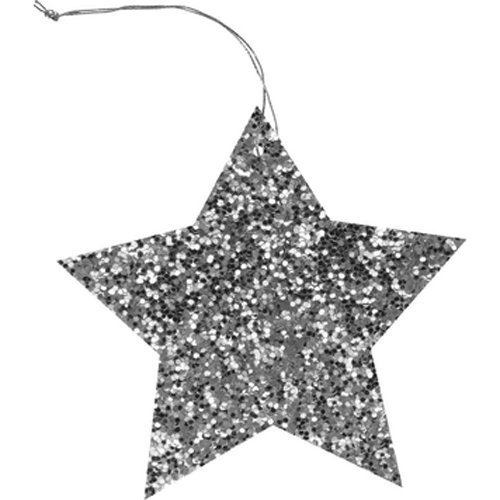 The Gift Wrap Company 6-Count Gift Tags, Silver Glitter Star
