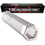 """TIZZE Pellet Smoker 12"""" Stainless Steel Tube - Easy Way for Hot/Cold Smoking - Add Smokey BBQ Flavor for Meat Cheese Smoke - Barbecue Grilling Accessories"""