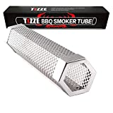 "TIZZE Pellet Smoker 12"" Stainless Steel Tube - Easy Way for Hot/Cold Smoking - Add Smokey BBQ Flavor for Meat Cheese Smoke - Barbecue Grilling Accessories"