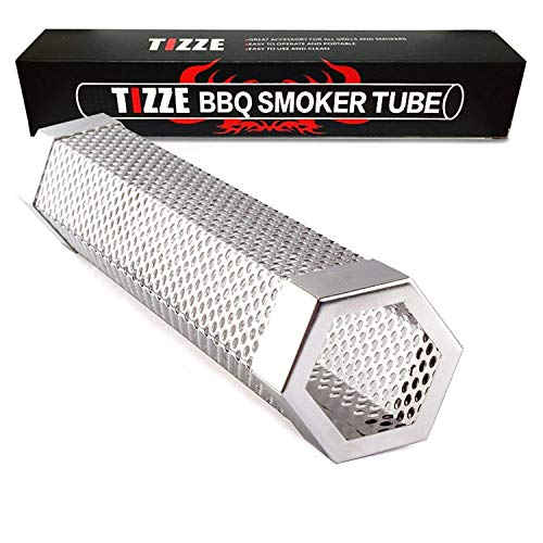 TIZZE Pellet Smoker Tube, 12'' Stainless Steel BBQ Wood Pellet Tube Smoker for Hot/Cold Smoking - Add Smokey BBQ Flavor for Meat Cheese Smoke - Barbecue Grilling Accessories