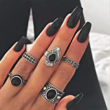Gold Happy 5 Pcs/Set Classic Black Crystal Round Water Drop Clouds Geometrical Irregular Ring Set Lady Charm Costume Jewelry Accessories