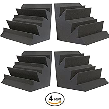 "Acoustic Foam XL Bass Trap Studio Soundproofing Corner Wall 12"" X 12"" X 12"" (4 PACK)"