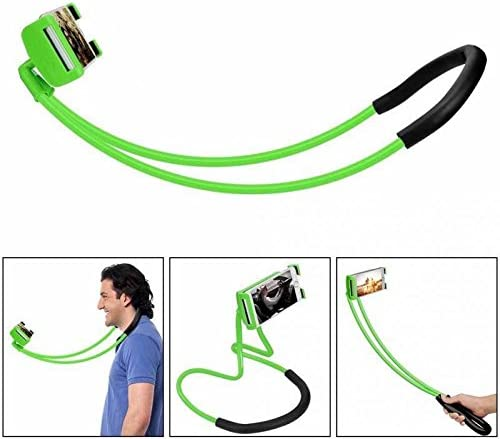 Hanging on Tablet Holder Cell Phone Stand Universal Mobile Phone Stand Green Lazy Neck Phone Holder Lazy Bracket DIY Free Rotating Mounts with Multiple Functions