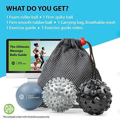 Therapeutic Massage Ball Set: Eliminate Pain! Rubber, Spikes & Foam Roller Massager Balls. Myofascial Release, Trigger Point & Plantar Fasciitis Therapy. Releases Muscle Aches: Thigh, Back, Knee, etc