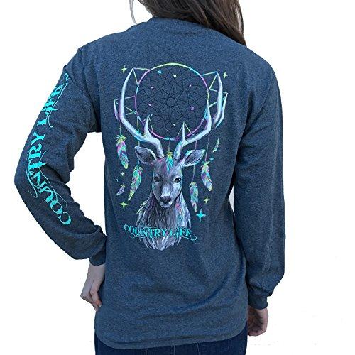 Country Life Dream Catcher Deer Dark Heather Gray Long Sleeve Shirt