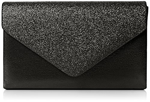 SwankySwans Women's Kelly Glitter Envelope Clutch Bag Party Prom Bag Clutch Black (Black)