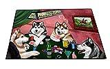 Home of Alaskan Malamute 4 Dogs Playing Poker Floormat 24