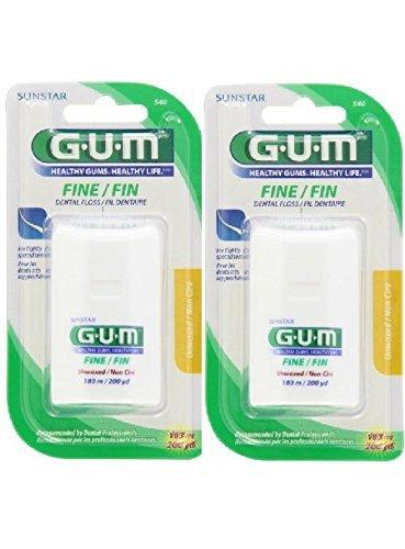 GUM Fine Floss, Unwaxed 200yds (pack of 2)