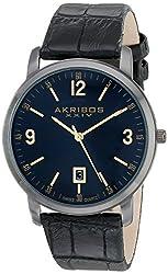 Akribos XXIV Men's AK780BK Watch with Black Leather Band