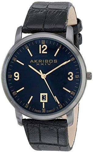 Akribos XXIV Men s AK780BK Watch with Black Leather Band