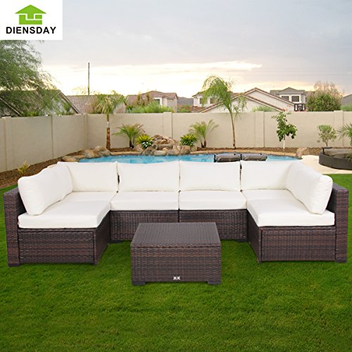 Diensday 7 Piece All-Weather Cushioned Outdoor Patio PE Rattan Wicker Sofa Sectional Furniture Set Clearance Lawn Backyard Furniture,Beige Cushion,Mixed Brown Wicker
