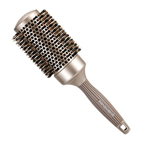 BANGMENG Round Barrel Anti-Static Hair Brush with Boar Bristles, Nano Thermal Ceramic Ionic Tech | For Extra Shine | Protect Hair, Enhance Texture, For Curling, Styling & Drying (Cheap Coloured Wigs)
