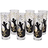 Star Wars Highball Glasses, Set of 6 - Cute Pinache Design with May the Force be With You and Black Rebel Symbol - 8 oz