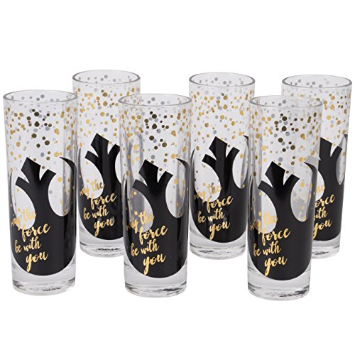 Star Wars Highball Glasses, Set of 6 - Cute Pinache Design with May the Force be With You and Black Rebel Symbol - 8 oz by Seven20