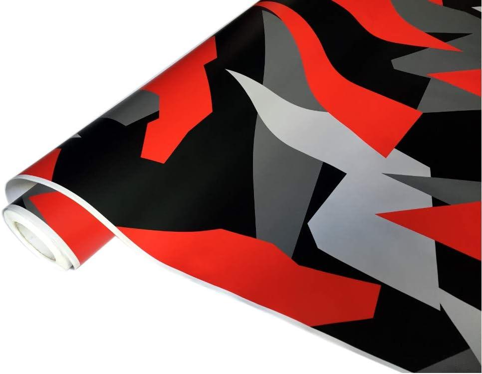 Folimac 8 50 M Camouflage Autofolie Selbstklebend Mit Luftkanäle Schwarz Weiß Grau Rot 33 300cm X 152cm Auto