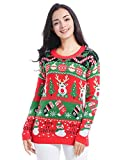 v28 Christmas Sweater for Women Girl Ugly Vintage Xmas Tunic Knit Womens Sweater