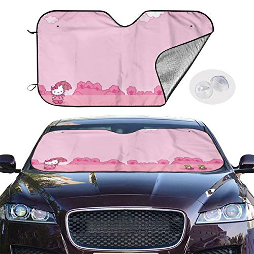 Car Windshield Sun Shade Blocks UV Rays Sun Visor Protector - Hello Kitty with Frog Sunshade to Keep Your Vehicle - Sunshade Frog