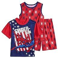 Spiderman Boys Pajamas Shorts Tank Shirt 3pc Pjs Lightweight