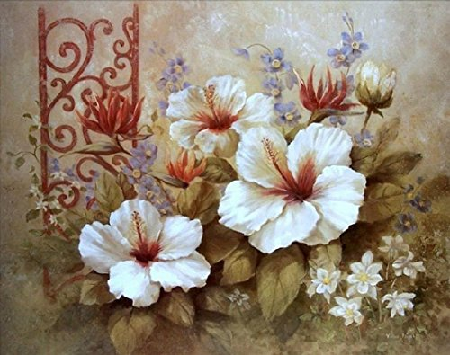 Framed Paint By Number Flowers Linen Canvas DIY Painting - Bingqing Yujie