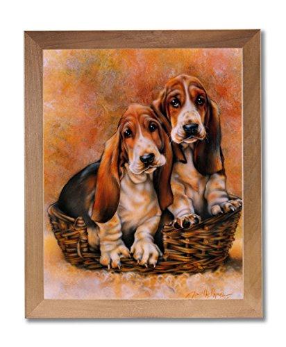 Baby Basset Hound Puppy Dog Animal Wall Picture Honey Framed Art Print