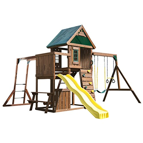 Swing-N-Slide Chesapeake Wood Complete Play Set with Two Swings, Monkey Bars, Slide, Climbing Wall and Picnic - Slide N Swing Trapeze