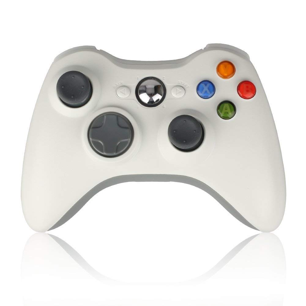 Sollop Wireless Controller Gamepad for Windows & Xbox 360 Built-in Dual Vibration Support PC with 2.4Ghz Wireless Connection Technology (White1)