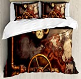 Ambesonne Industrial Duvet Cover Set Queen Size, Steam Pipes and Pressure Gauger Vintage Style Damaged Timeworn Engine, Decorative 3 Piece Bedding Set with 2 Pillow Shams, Dark Orange Bronze