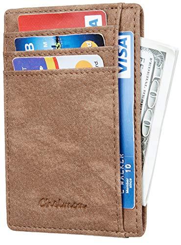 Genuine Brown Leather Wallet - Chelmon Slim Wallet RFID Front Pocket Wallet Minimalist Secure Thin Credit Card Holder (Vinti Brown Sandy)
