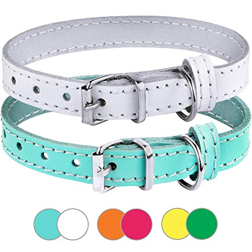 BronzeDog Leather Cat Collar Pack of 2 PCS, Pet Collars for Kitten Puppy Small Dogs Cats Yellow Green Pink Orange White Turquoise (Neck Size 7'' - 10'', Turquoise/White)