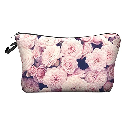 Cute pattern Pouch Travel Case Cosmetic Makeup Bag (Pink roses) G6V4