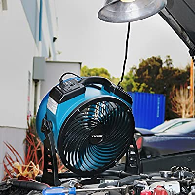 Image of Home and Kitchen XPOWER FC-300 Professional Grade Air Circulator, Utility Fan, Carpet Dryer, Floor Blower-14 Diameter Heavy Duty Portable Shop, Blue